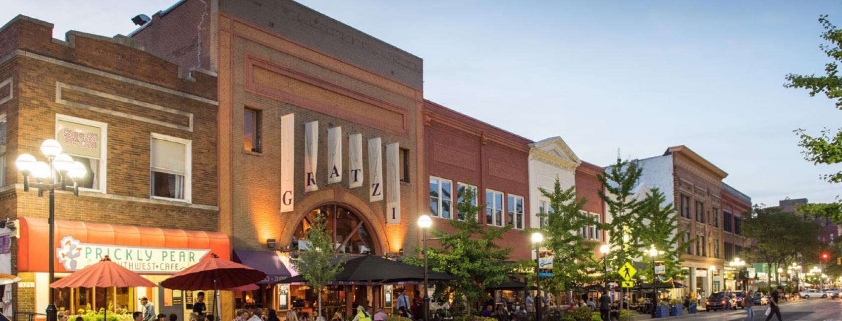 Dusk in downtown Ann Arbor