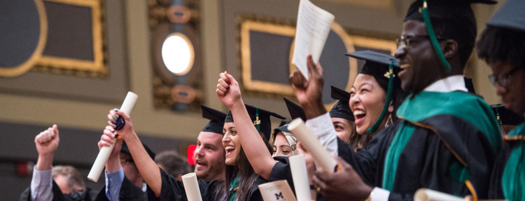 Medical students cheer at Commencement