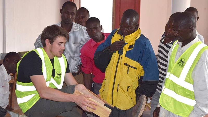 Peter Delaney leads a first responder training in Uganda in 2016.
