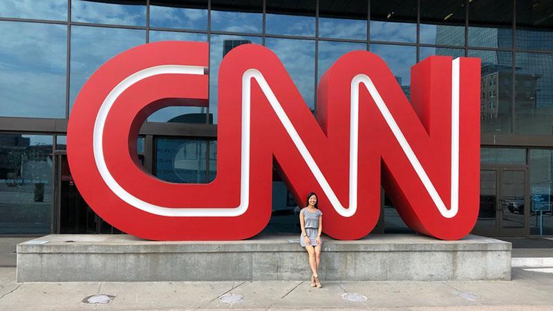 U-M medical student Gina Yu at CNN headquarters