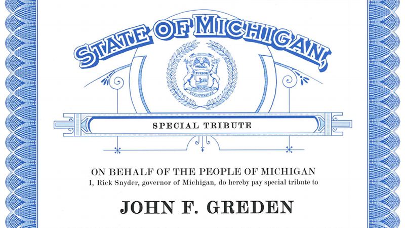 John F. Greden, M.D., honored by national network, Michigan governor