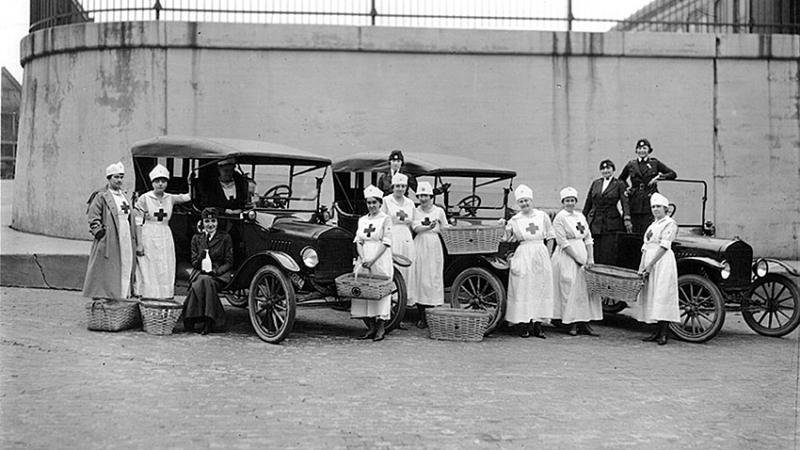 The national call for volunteers to help care for the millions made ill by the 1918-1919 flu pandemic included these women drivers and canteen workers in Detroit.