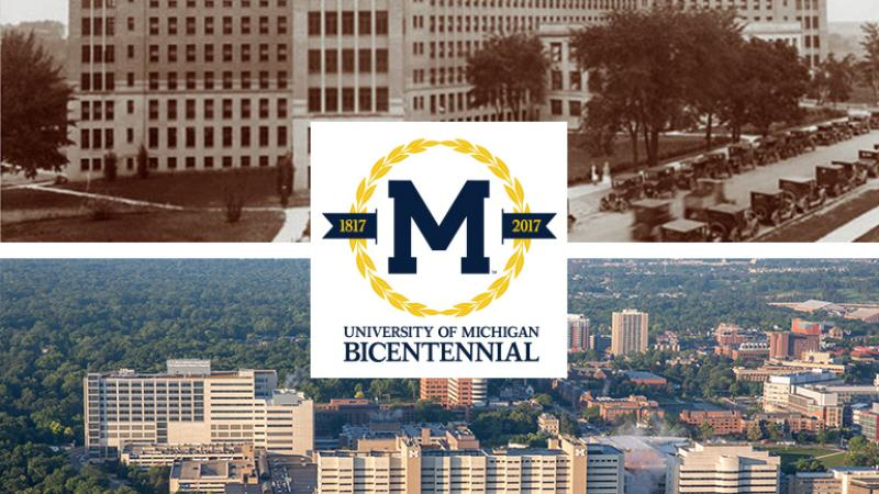 Old Main (top) and U-M medical campus (bottom)