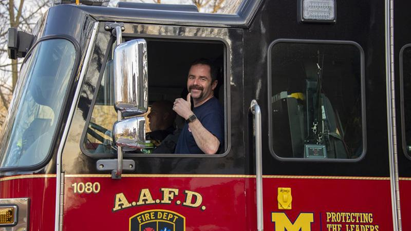 Firefighter gives the thumbs up