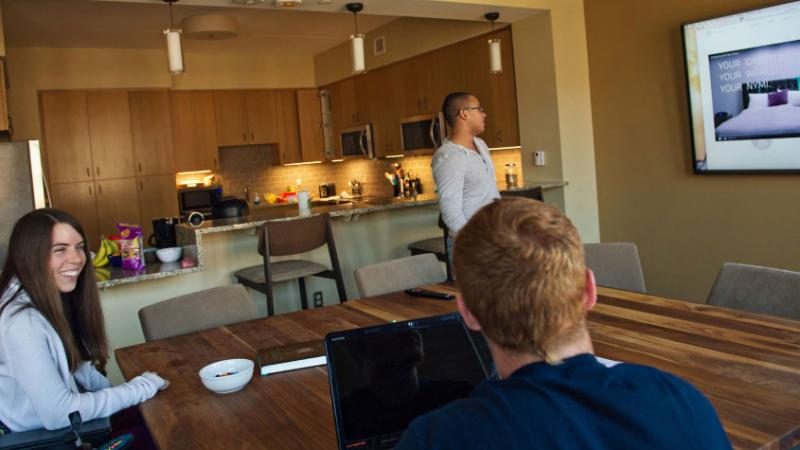 Students chat at the Munger Graduate Residences