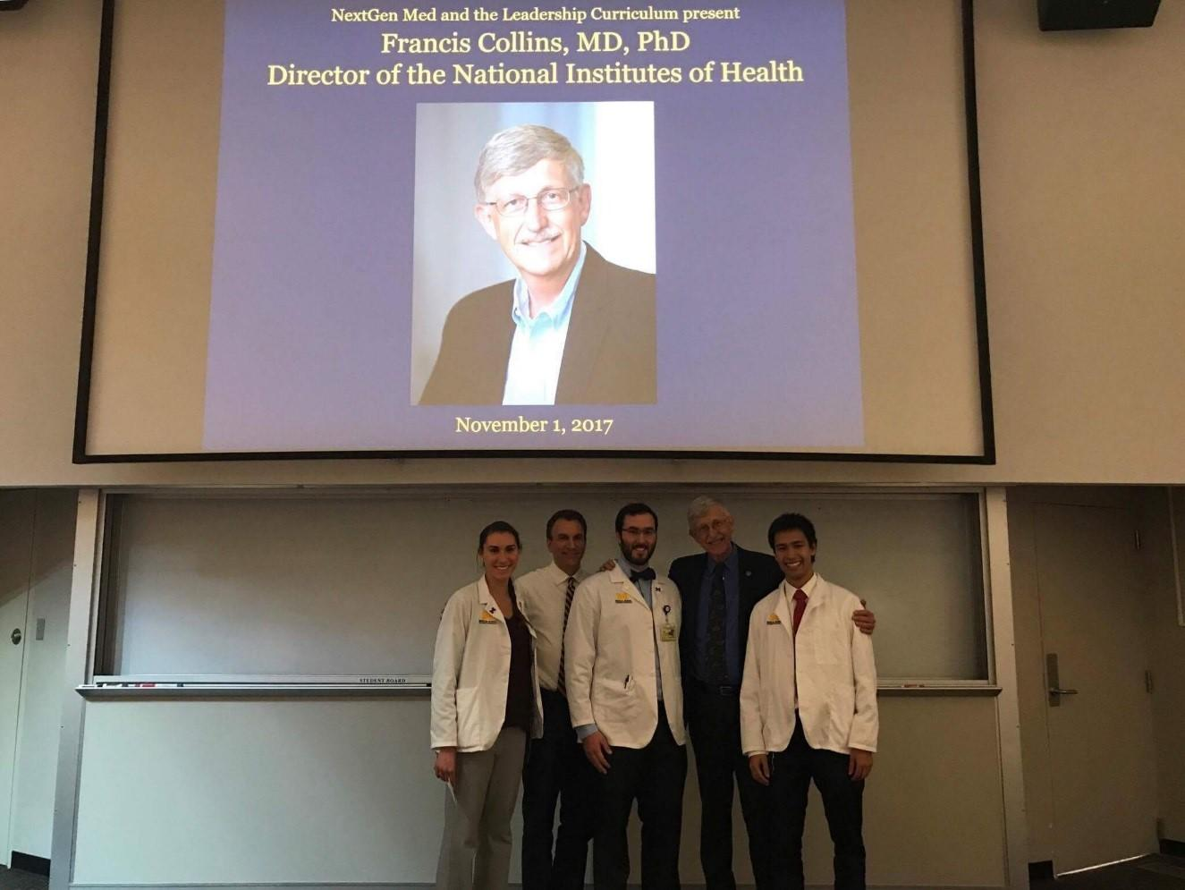 Francis Collins, MD, with Michigan medical students