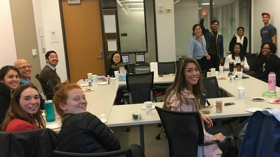 Michigan medical students meeting in small group