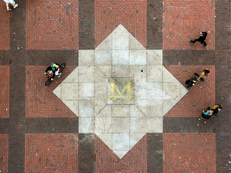 Overhead view of the block-M on the Diag