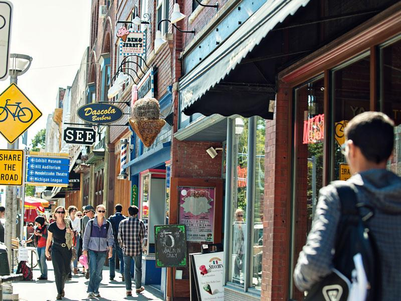 State Street businesses in downtown Ann Arbor