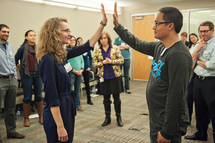 Medical students in a professional development improv workshop