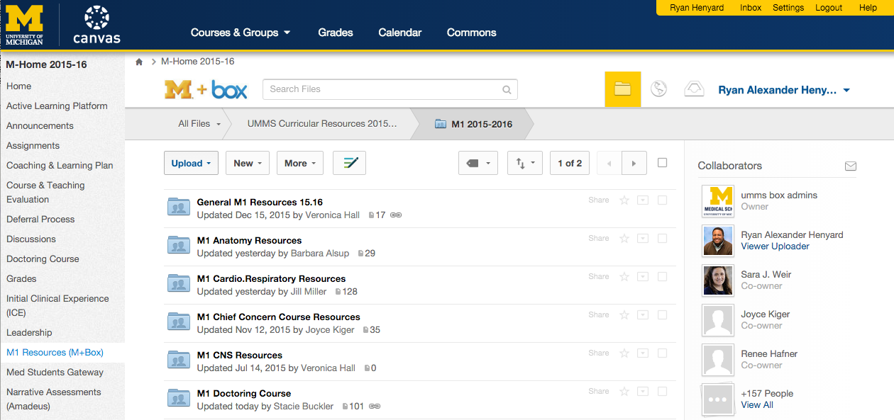 Screenshot of Canvas learning management system showing Box integration