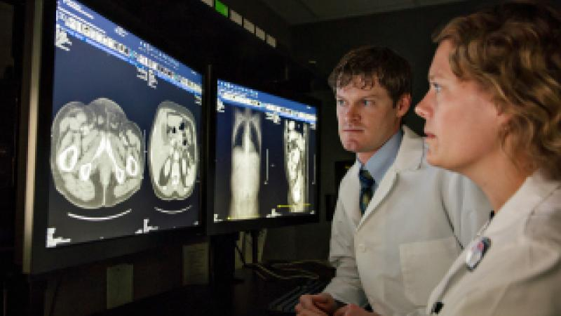 U-M radiology residents looking at x-rays