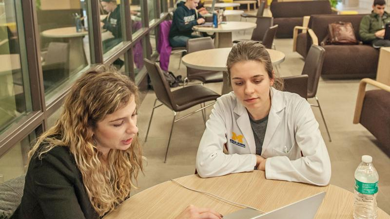 Students study in the Taubman library