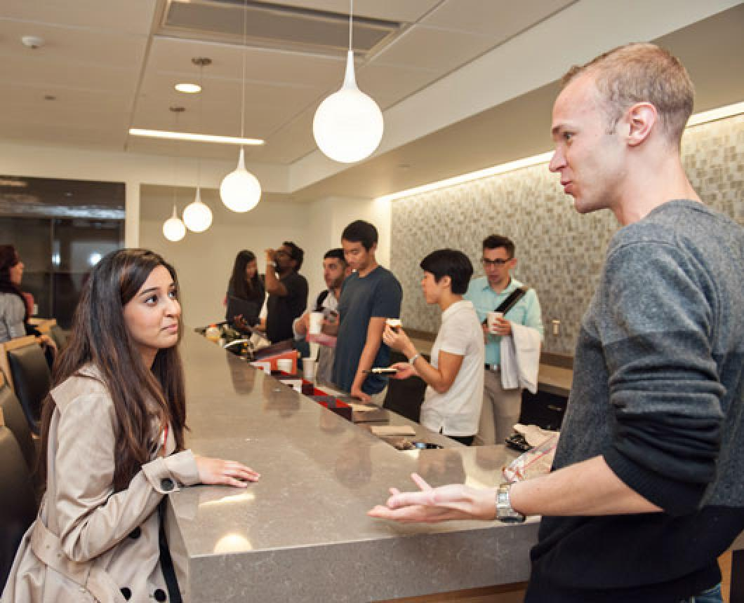 Students hang out in the Taubman library lounge