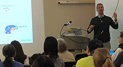 David Olson, MD, PhD speaking at a diabetes lecture series
