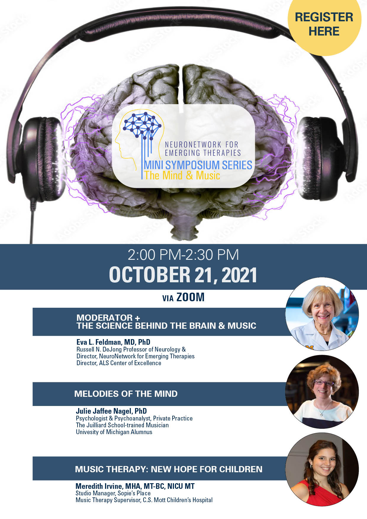 Flier for the NeuroNetwork for Emerging Therapies Mini Symposium Series: The Mind & Music