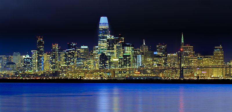 San Francisco skyline at night from the bay