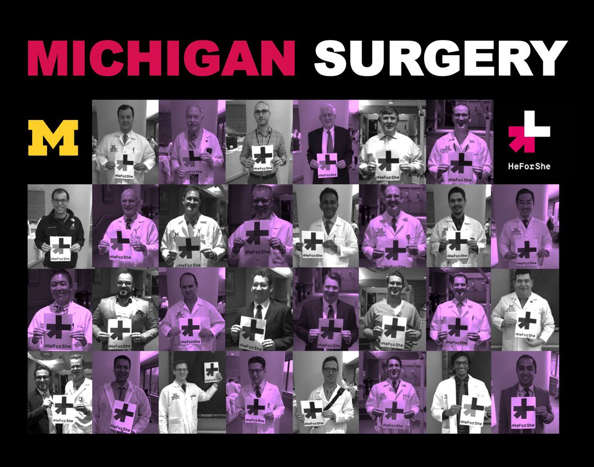 Collage of pictures of male surgeons from the Department of Surgery holding #HeForShe signs