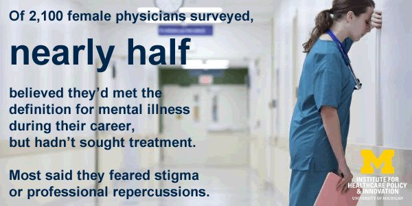 image of distressed doctor with text: of 2,100 female physicians surveyed, nearly half believed they'd met the definition for mental illness during their career, but hadn't sought treatment. Most said they feared stigma or professional repurcussions