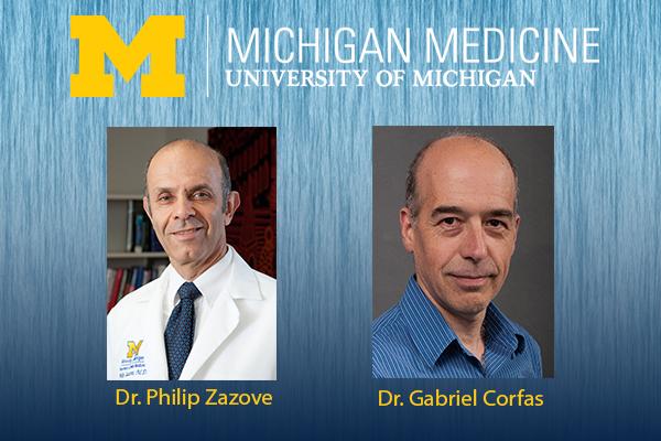 Headshots of Dr. Philip Zazove and Dr. Gabriel Corfas, along with the Michigan Medicine Logo
