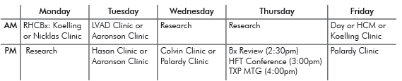 Heart Failure Fellowship Fellow Schedule