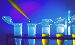 Immunological research in lab with test tubes