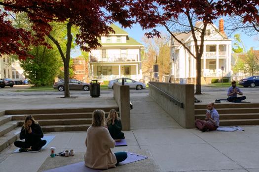 Fellows doing yoga