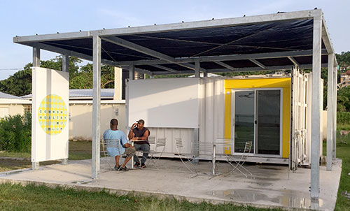 Shipping container clinic in Jamaica
