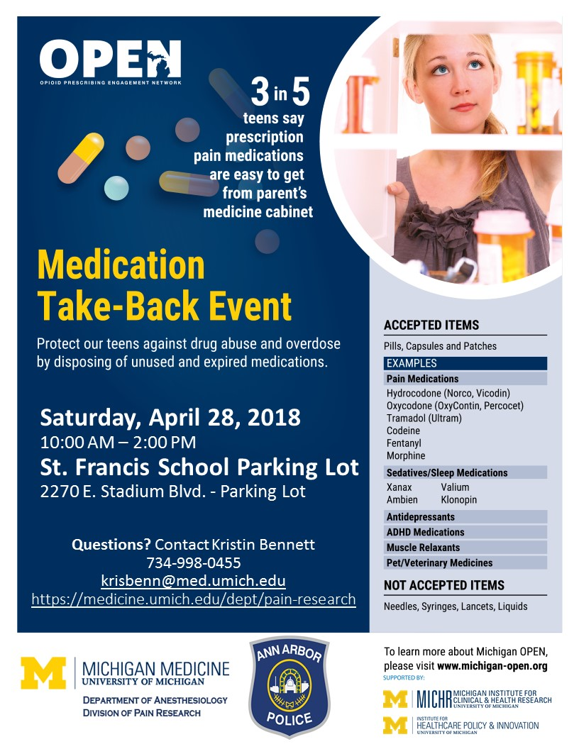 Medication Take-Back Event | Pain Research | Michigan