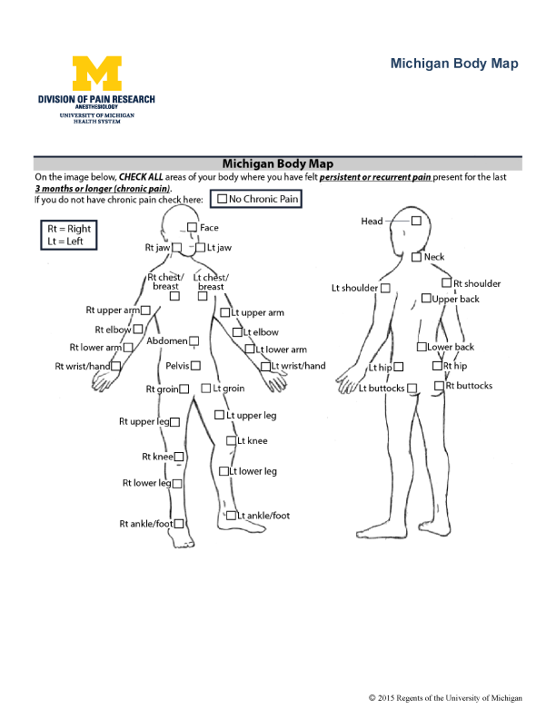 body maps have been used for many decades to assess the location of pain  complaints