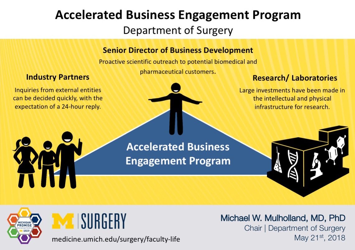 Visual Abstract on Dr. Mulholland's blog post on Accelerated Business Engagement