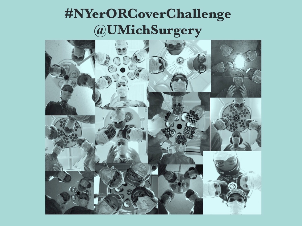 Collage of women surgeons re-creating the New Yorker cover #NYerORCoverChallenge @UMichSurgery