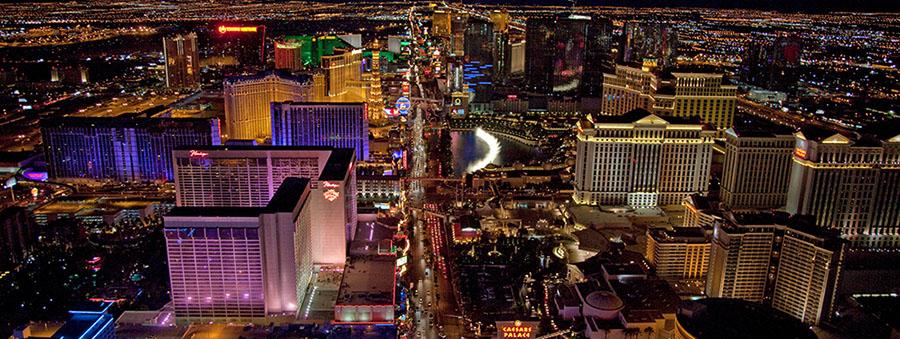 Night aerial view of Las Vegas Nevada
