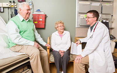 Dr. Adam Marks with patients