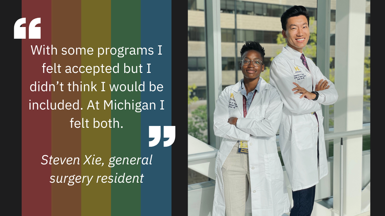 Photo of two surgery residents with a quote about programs being accepting