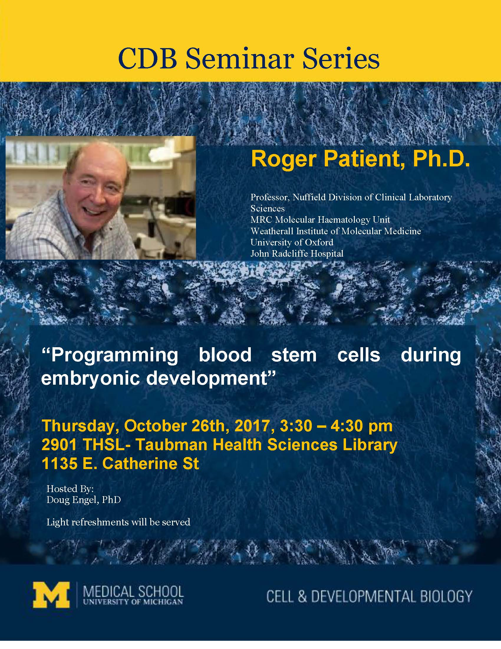 embryonic development cell roger20patient20seminar20flyer20102617 programming blood stem cells during embryonic development oxford seminars jobs