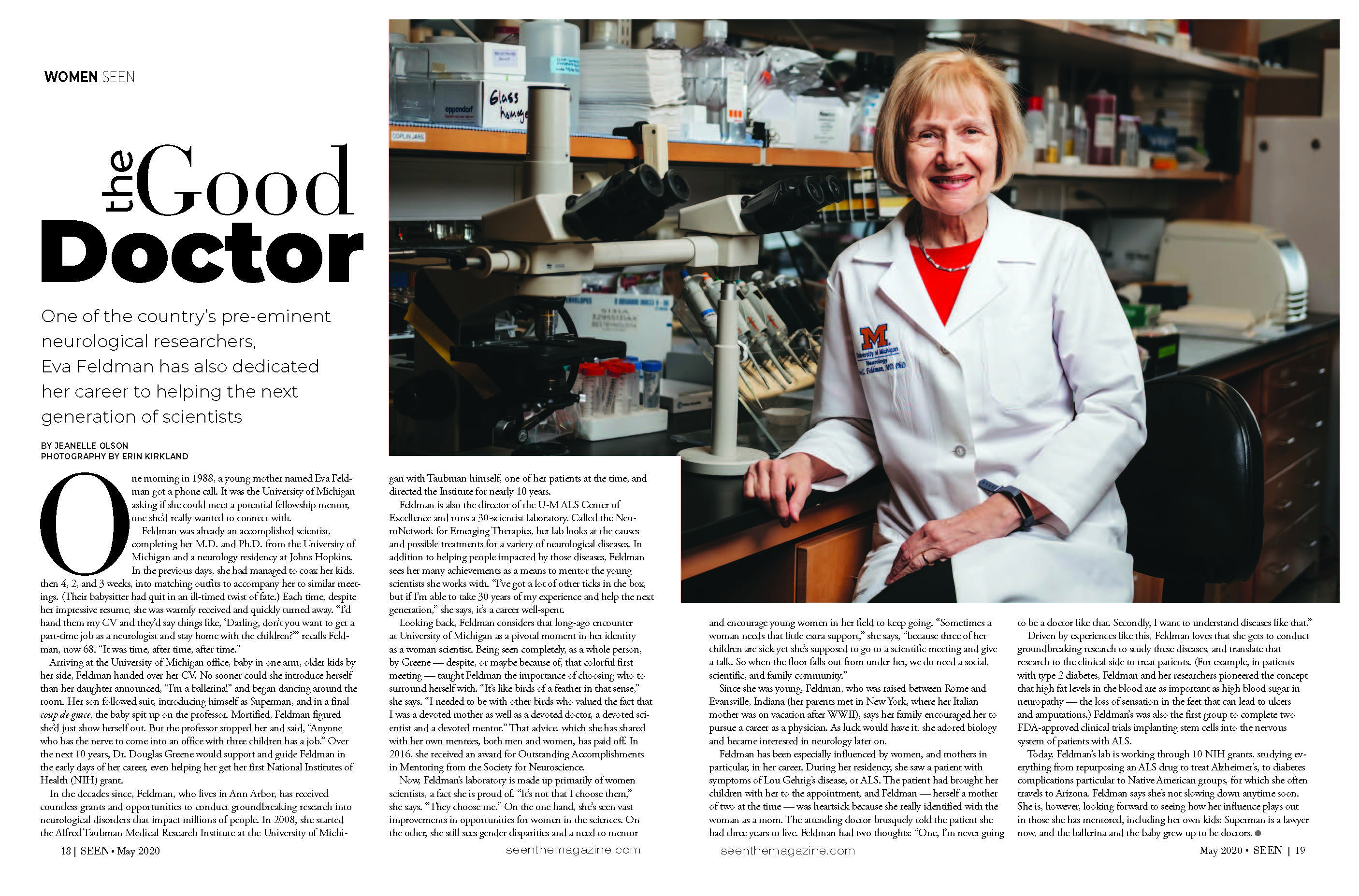 SEEN Magazine article featuring Dr. Eva Feldman of the NeuroNetwork for Emerging Therapies