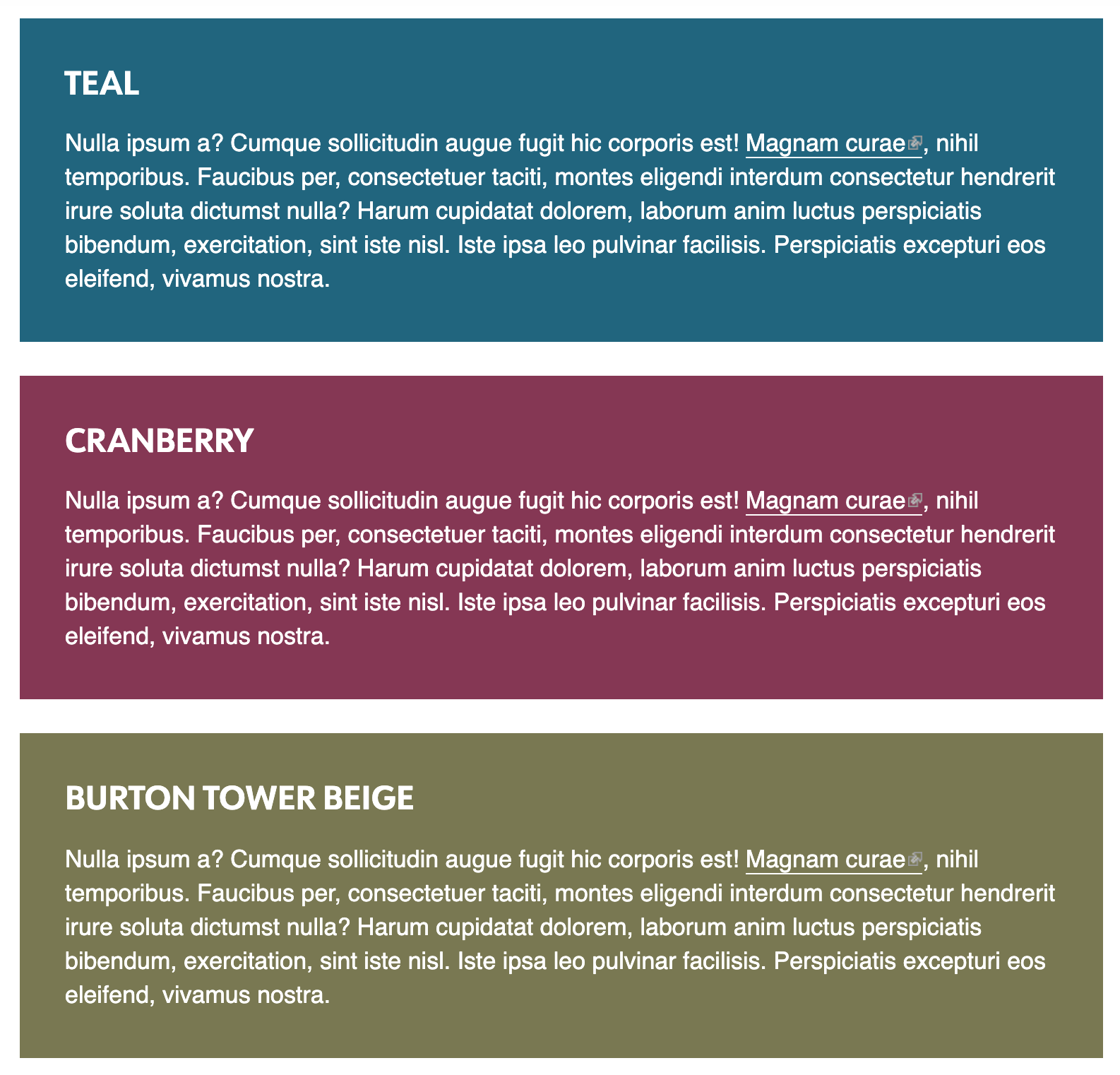 Sample image showing new colors (teal, cranberry, beige)