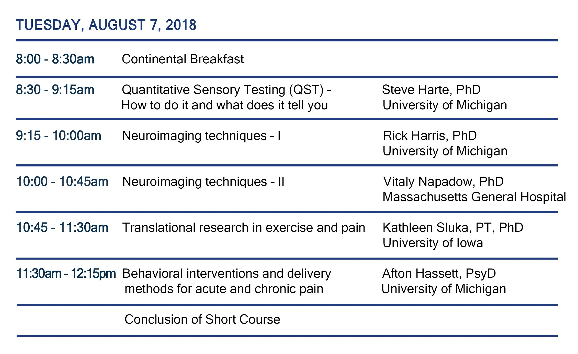 Schedule for Pain Short Course 2018
