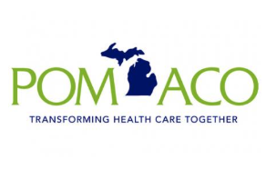 "POM ACO Logo reads ""POM ACO Transforming Health Care Together"" in front of outline of the state of Michigan."
