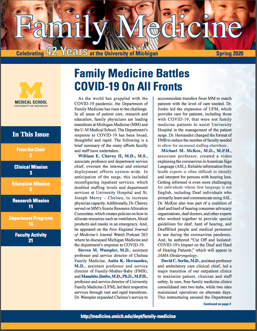 "Cover of Family Medicine Newsletter - Top story titled ""Family Medicine Battles COVID-19 On All Fronts"""