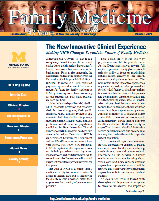 """Cover of the Winter 2021 Family Medicine newsletter. Headline reads """"The New Innovative Clinical Experience: Making NICE Changes Towards the Future of Family Medicine."""""""