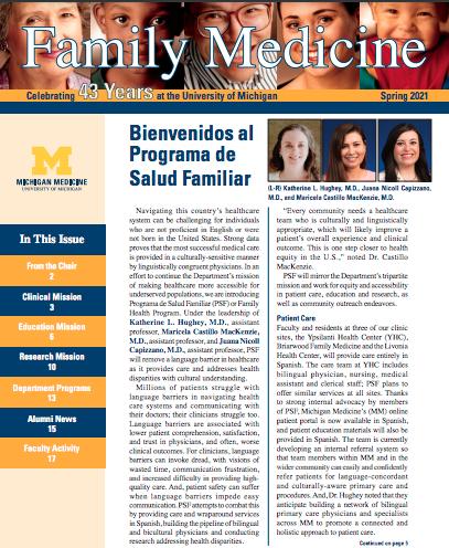 "Cover of the Spring 2021 Family Medicine newsletter. Headline reads ""Bienvenidos a Programa Salud Familiar""."""