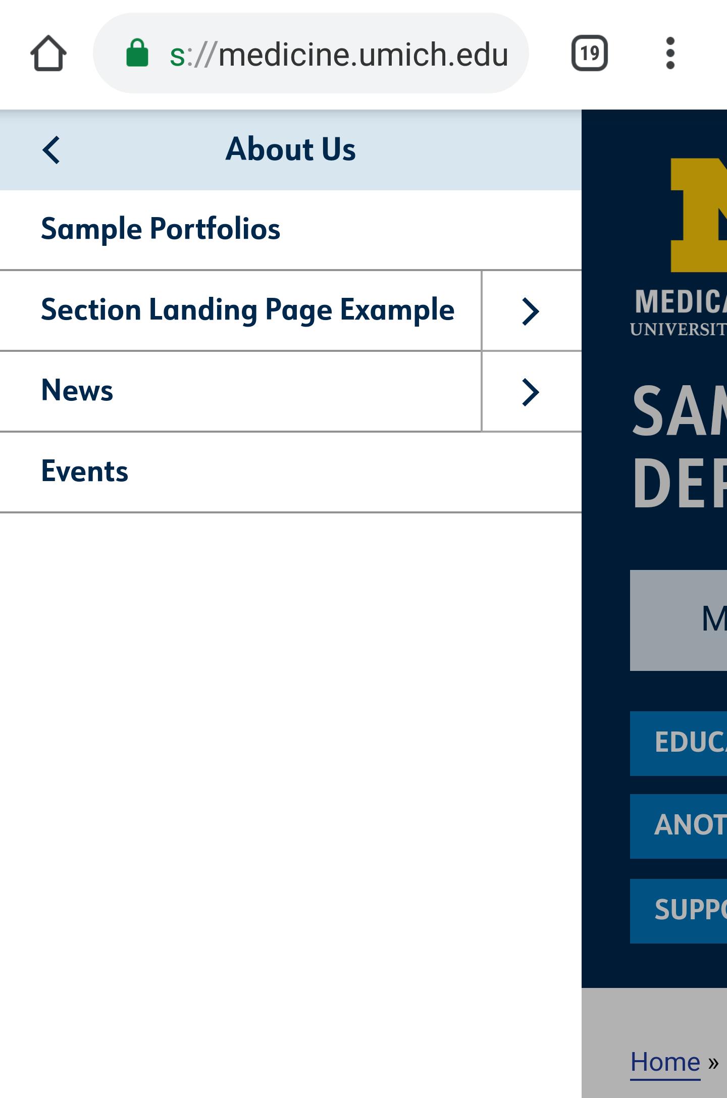 Screenshot of mobile menu