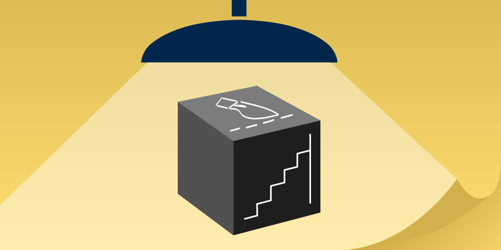 Graphic of a light shining on a box