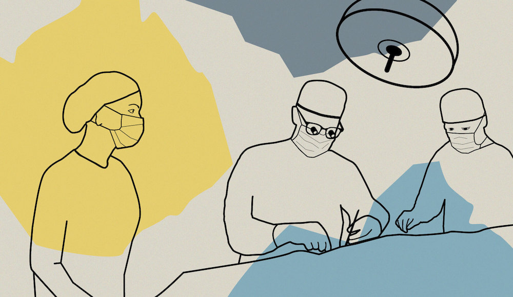 Graphic showing medical student in an operating room with two surgeons working on a patient