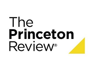 Logo with words The Princeton Review with yellow triangle on bottom right corner