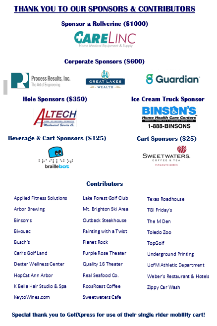 a list of sponsors and logos from supporters of the 2nd annual UMAISE golf outing