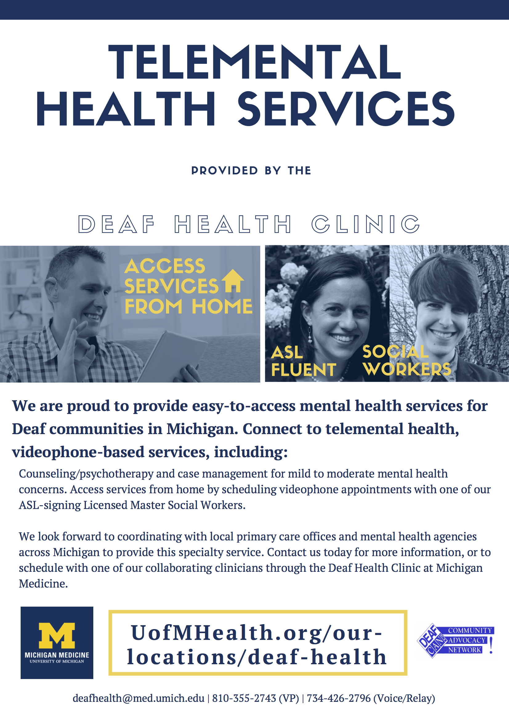 telemental health services poster for more information go to the deaf health center website