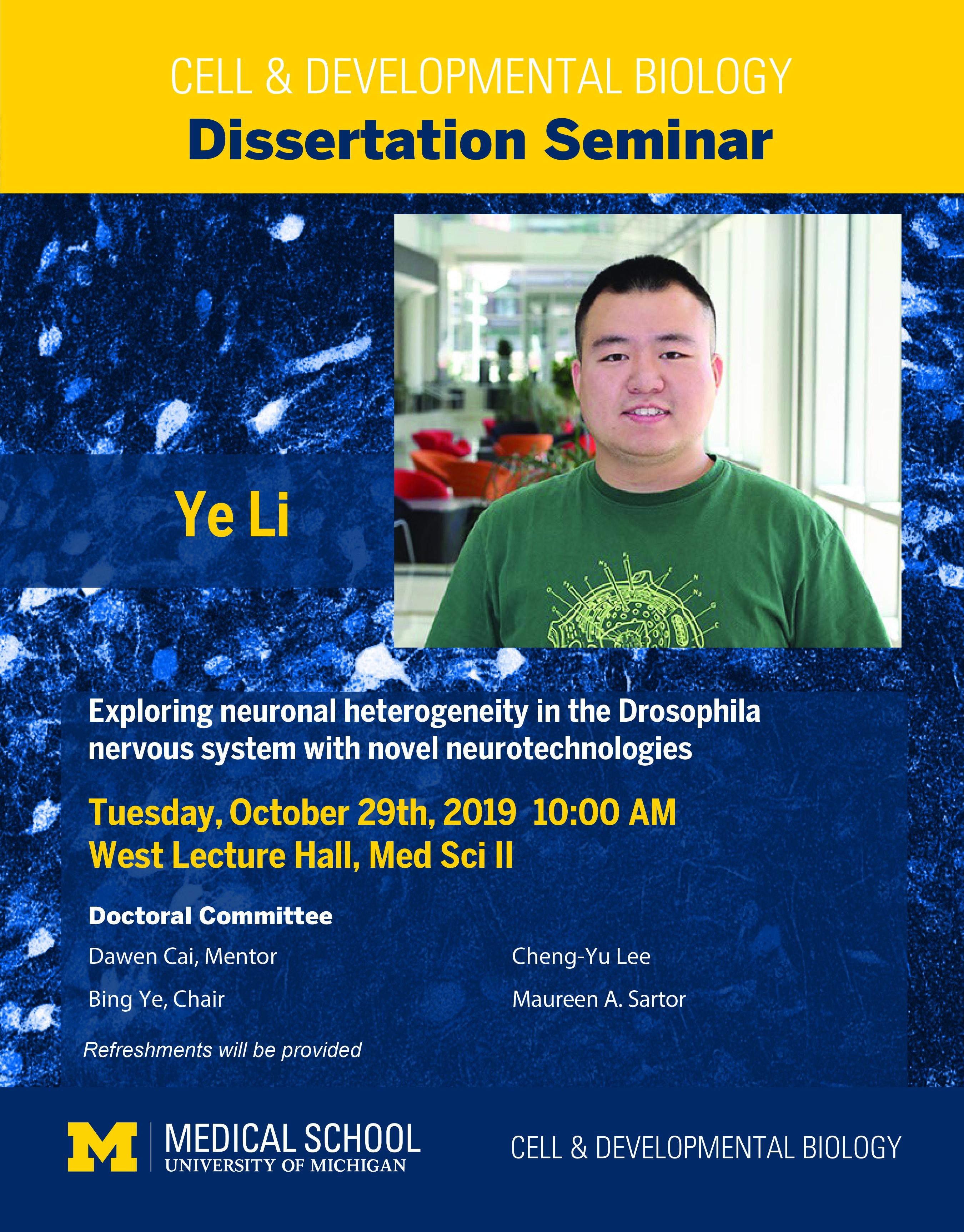Ye Li Dissertation Seminar